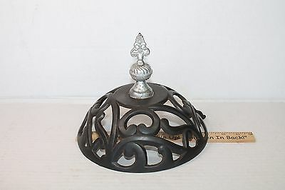 Wood Parlor Stove Cast Iron Round Range Top Vintage Old Finial swing topper