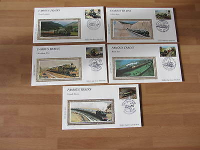 1985 Benham Luxury Silk Covers GB BS1 FAMOUS  TRAINS  (5 covers)