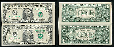 USA The United States of America  2 Dollar  (1 $ +1 $ ) 1995  Banknoten Bogen