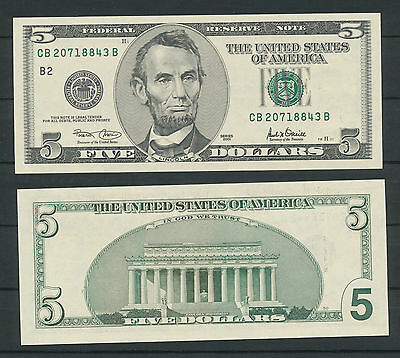 USA THE UNITED STATES OF AMERICA 5 Dollar 2001 Banknote  UNC President  LINCOLN