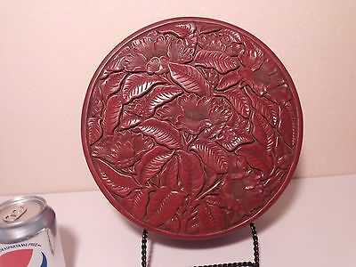 Chinese Lacquerware Old Round Box & Decorated in Peonies and Carved Leaf Foliage
