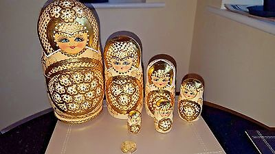 Russian Doll Traditional Classic Gold Matryoshka Large Nesting Dolls 6Pcs