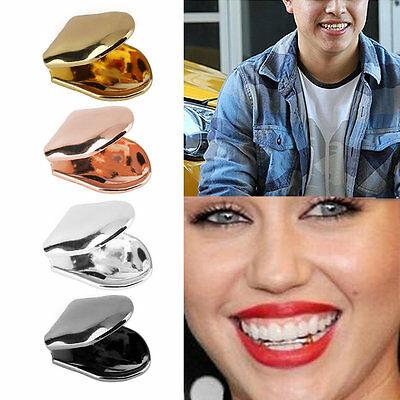 Hip Hop Single Tooth Grillz Plain Canine Tooth Cap Top Bottom Removable TeethUK