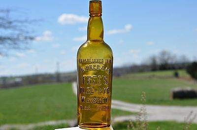 Qt. Free's Pure- Rye Whiskey York...Penna. Lots of yellow w/some amber