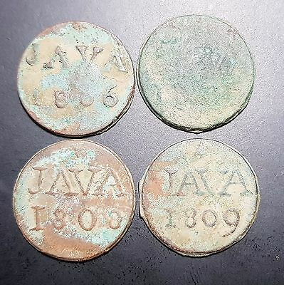 Set 4 Pcs Netherlands East Indies Duit VOC Java 1806 1807 1808 1809