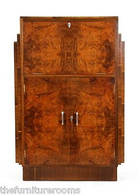 Art Deco Walnut Bureau c1930   (630)