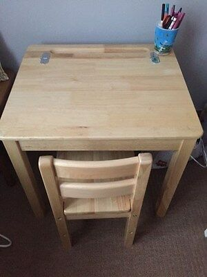 Solid Wood Pintoy Childrens Desk and Chair