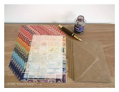 Rainbow Letter Writing Set - Postage Stamp Collage Print, A5 luxury paper