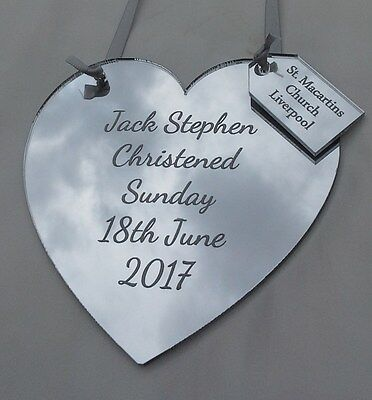 Personalised Engraved Christening Plaque Heart Shape Baby Silver Mirror With Tag