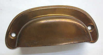 1 vintage stamped aged antique smooth copper cup bin drawer pull handle 3-3/4""