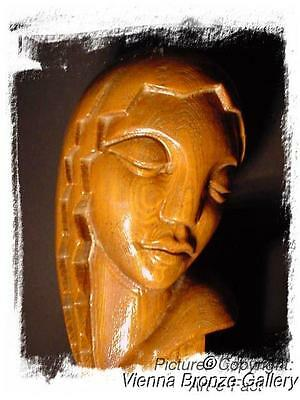 An outstanding carved wooden modernist Art Deco Lamp Artist sgd Stasack