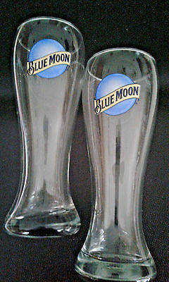 "NEW NEVER USED  Blue Moon Beer Glasses ~ 8"" Tall ~ Set of 2 12oz."