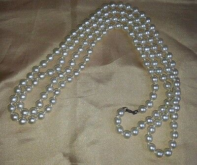 """STUNNING VINTAGE  GLASS FAUX PEARL 50"""" NECKLACE FLAPPER RETRO - free post"""
