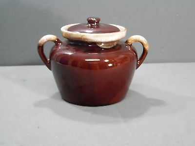 McCoy #1242 Ceramic Bean Pot With Lid Brown Drip And Cream Color