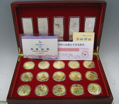 20 BeiJing 2022 Winter Olympic Games 24k Gold Plated Medal Silver bar Coin Set