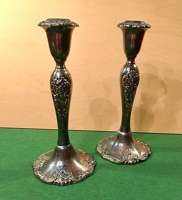 """Vintage """"Baroque"""" By Wallace Silver Plated #750 Candlestick Holders 8.5"""""""