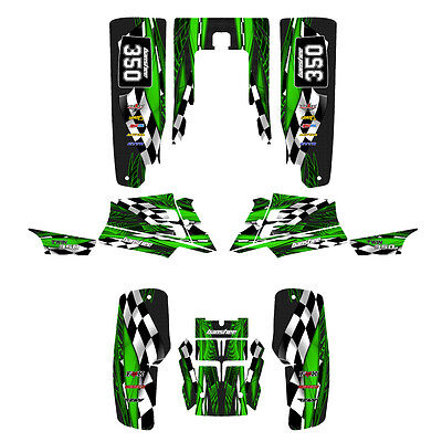 Yamaha Banshee 350 graphics full coverage custom sticker kit  #3500 Green