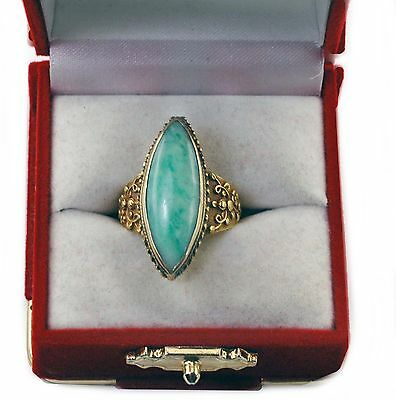 Antique Chinese Traditional Style Natural Color Jade 18k Gold large Ladies Ring