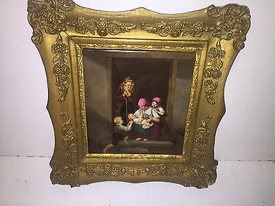 Antique KPM Porcelain Plaque 7 in  x 8 in Genre scene
