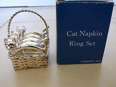 Vintage Siver Plated Cat Napkin Rings In Basket Collectable - Boxed