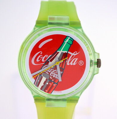 Coca Cola Bottle Face Watch with Green Silicone Band in Display Box