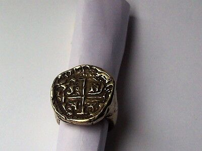 Crusader Knights Templar Cross Potent Medieval Coin Mens Ring
