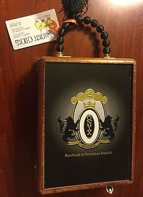Onyx Cigar Box Purse Solid Wood Brass Hinges & Clasps, New W/ Tags Vintage Look