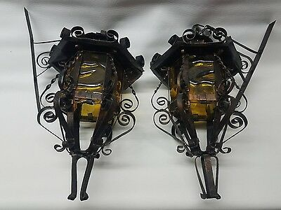 Pair antique brass and amber stained glass candle wall sconce vintage hand made