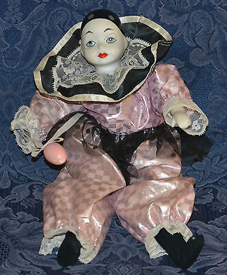 "Musical Animated Windup PORCELAIN DOLL ""SAD CLOWN""  12"" Tall !!! WORKS !!!"
