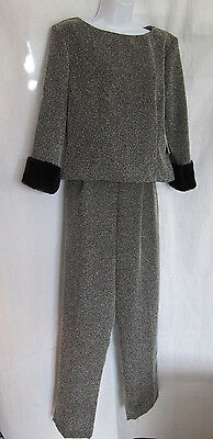 Susan Ross Design Ladies Black-Gray Top & Slacks Suit Size 10