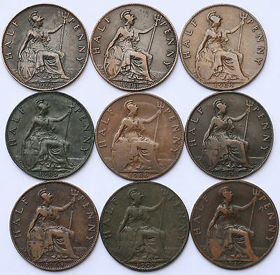 Edward VII 1902-1910 Full Set Half-Pennies Collectable Grades
