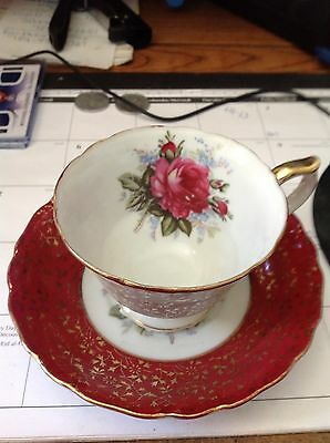 Vintage Castle Tea Cup & Saucer  Hand Painted In Japan