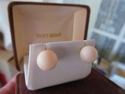 Vintage Solid 14K Gold Post Angel Skin Coral Large 10Mm Ball  Stud Earrings