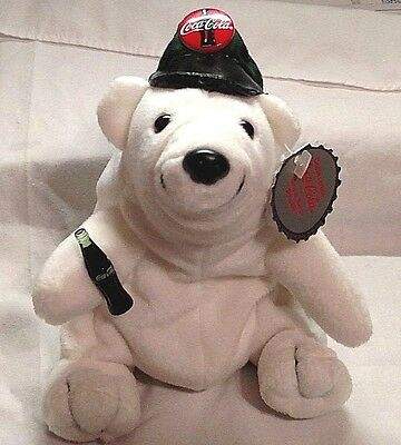 Coca Cola Stuffed Beanie Polar Bear in Driver's Cap, I Just Love This One!
