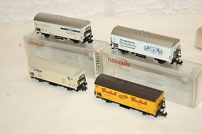N gauge NEAR MINT 4x Fleischmann 8320 8321 Goods Van Grolsch etc BOXED and NICE