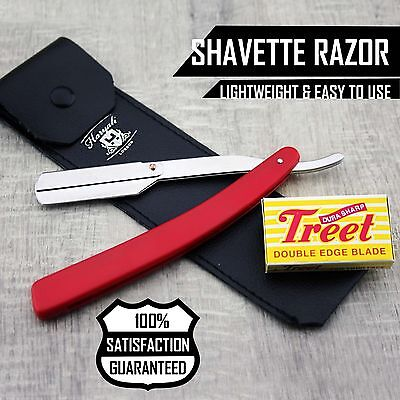 Men's Wet Shaving Barber Salon Cut Throat Razor With Leather Pouch + Half Blade