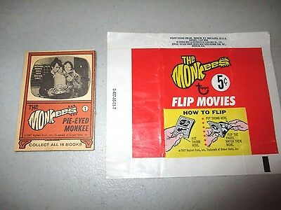 "Vintage1967 THE MONKEES Flip Movies #1 ""PIE-EYED MONKEE"" & Topps Wax Gum Wrapper"