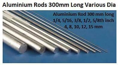 Aluminium 6082T6 Rod Round Bar 4, 6, 8, 10, 12, 16mm Diameter 300mm Long