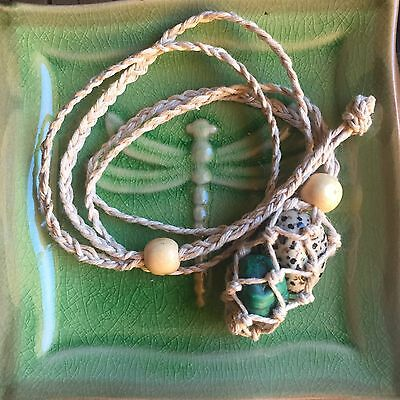 Natural Organic Hemp Macrame Adjust/Interchange Crystal Necklace Plus Bonus Bag