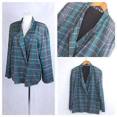 Vintage 80's Jacket Oversize Teal Gingham Power Cotton Double Breasted UK14
