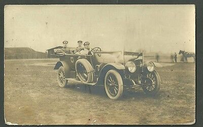 Early Pre 1915 Real Photo Postcard Mercedes Benz Sedan William II In Back Seat