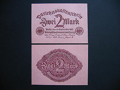 GERMANY  2 Mark 15.9.1922  Ros. 74  (P62)  UNC