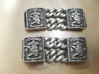 Custom Bandidos Mc Texas Sterling Silver 1% Bracelet Vest Links