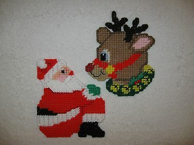 Santa & Rudolph Christmas Coasters Ornaments Plastic Canvas Handmade