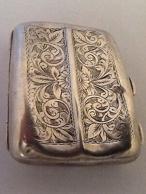 Decorative Solid Silver Card / Cigarette Case - Birmingham 1917