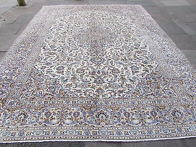 Fine Old Traditional Hand Made Persian Oriental Cream Wool Carpet Rug 395x290cm