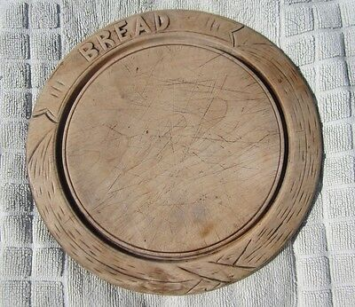 Antique Edwardian bread board, round shape carved letters BREAD/