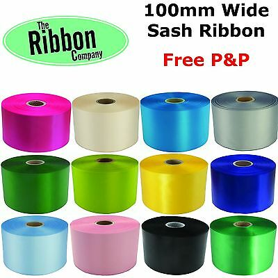 "CEREMONY RIBBON 4"" (100mm) - EXTRA WIDE SATIN SASH RIBBON - FREE POSTAGE"