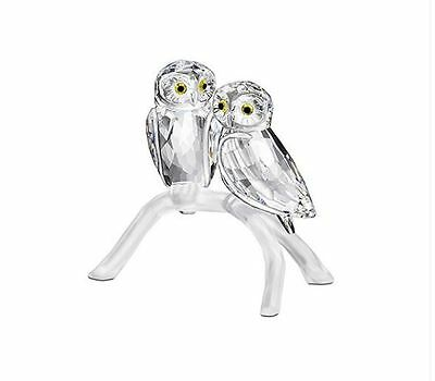 NIB $219 SWAROVSKI OWLS On Branch RETIRED Clear CRYSTAL FIGURINE #1003312