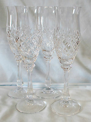Mikasa Chateau Crystal Flute Champagne Goblet Glass Stem Set of 4